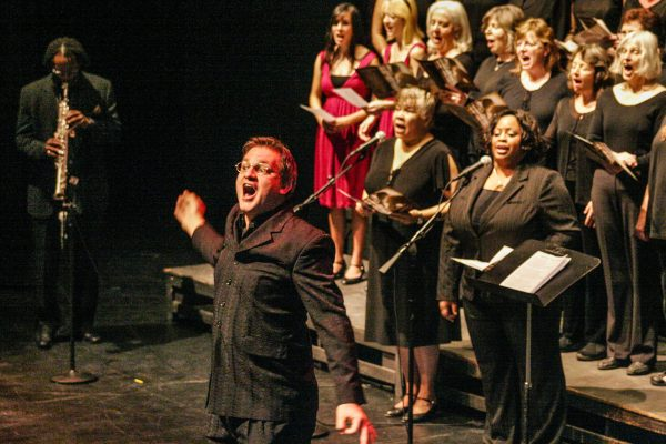 """January 19, 2009 - Santa Barbara, CA: CA: Santa Barbara Honors Dr. Martin Luther King, Jr. with a morning program at  the Granada Theater.  The Black National Anthem """"Lift Every Voice And Sing"""", featuring the Mass Choirs directed by Terry Carter.  (Photo by Rod Rolle)"""